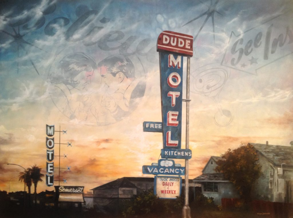 """Dude Motel Oil and Acrylic on Wood, 2013 9""""X11"""""""