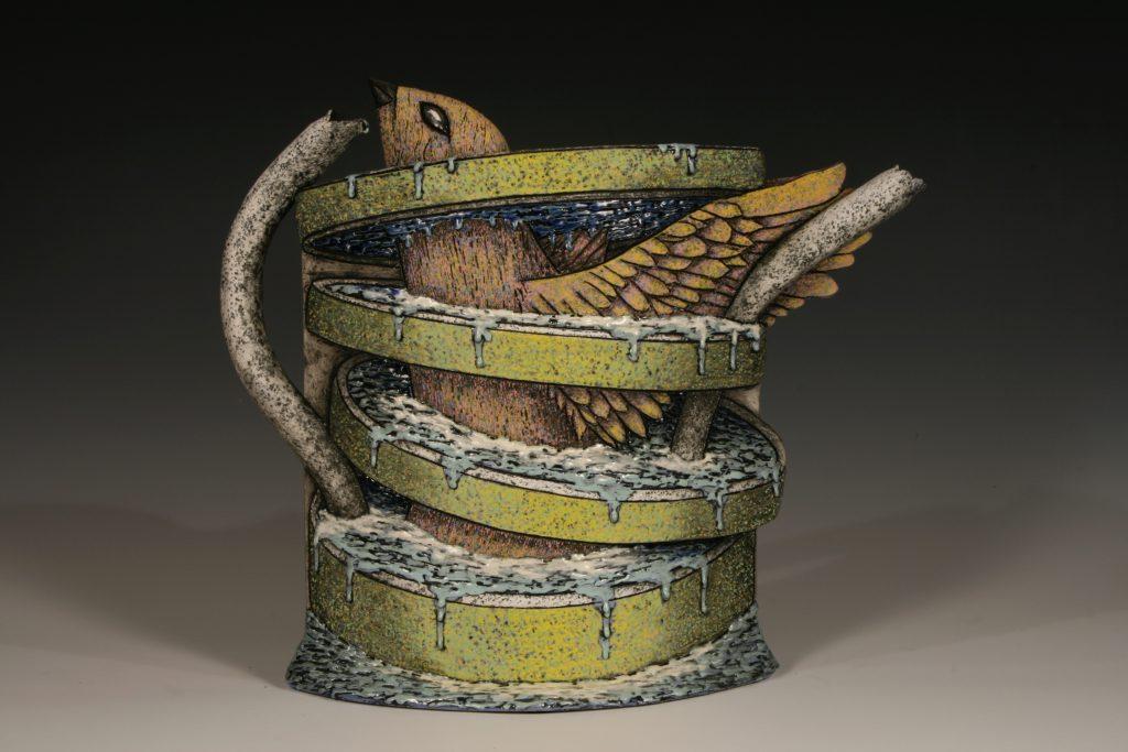 "Louis Marak - Avian Teapot (back) - 2006 - Earthenware - 13.75"" x 16"" x 6"""