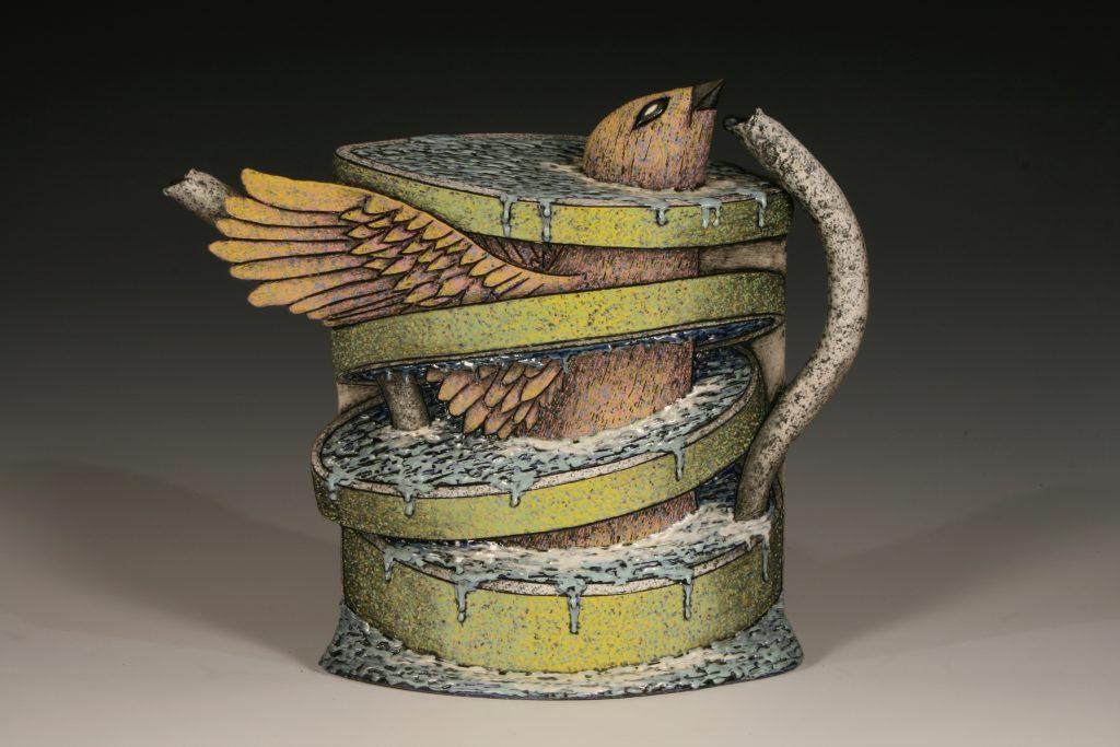 "Louis Marak - Avian Teapot (front) - 2006 - Earthenware - 13.75"" x 16"" x 6"""
