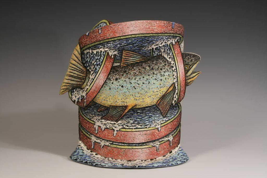 Louis Marak - Floating Fish Rings Teapot (back) - 2001