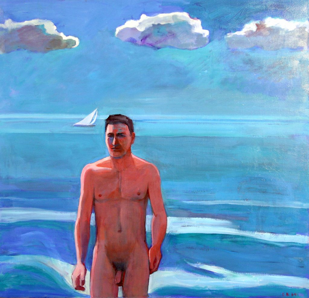 """Theophilus Brown - 1964 - Bather - Oil on Canvas - 46"""" x 48"""""""