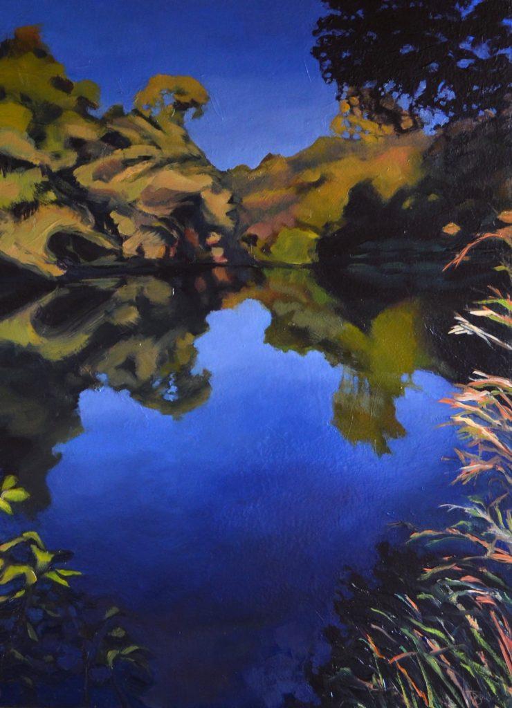 "Julie Smiley - Creek, Grasses - 2018 - Oil on Panel - 24"" x 17.5"""