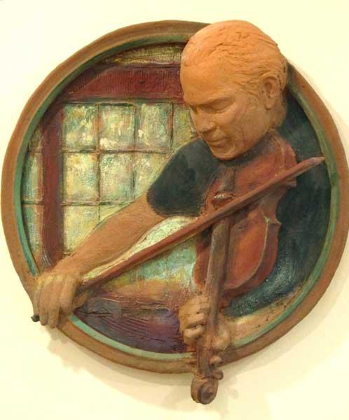 """Lisa Reinertson - Dad's Fiddle - 2013 - Ceramic - 23"""" x 26"""""""