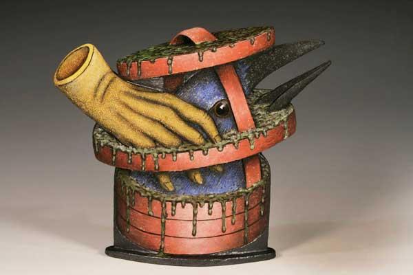 """Louis Marak - Bird Bath Teapot - Earthenware - 12.5"""" x 14.5"""" x 4"""""""