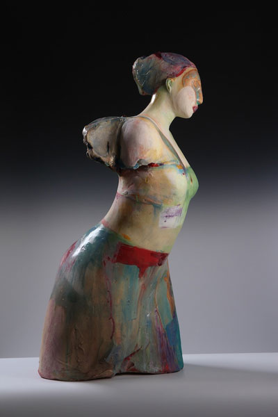 Michelle Gregor scout maquette sculpture colorful woman armless