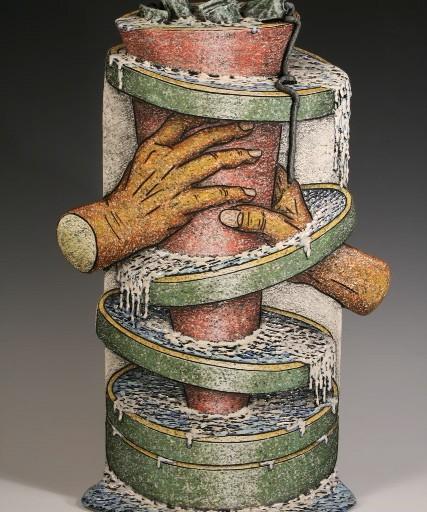 "Louis Marak - Squeezed Tube Vase - 2001 - Earthenware - 22"" x 14.5"" x 7"""