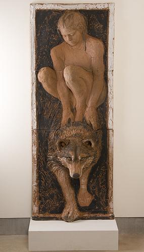 """Lisa Reinertson - Wolf Rider - 2009 - Ceramic - 65"""" x 25"""" x 8"""""""