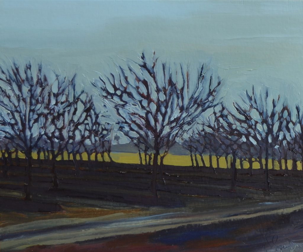 "Julie Smiley - Bare Orchard - 2018 - Oil on Panel - 10"" x 12"""