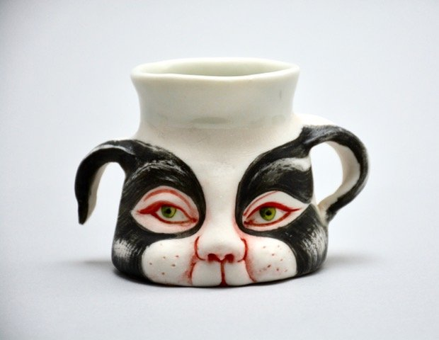 "Patti Warashina - Cat Cup - 2019 - Ceramic - 3"" x 5"" x 3.25"""