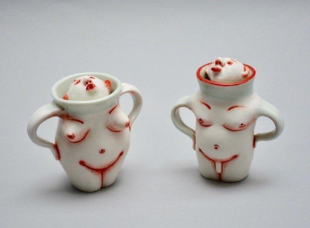 Patti Warashina - Adam & Eve - 2019 - Porcelain, Underglaze, Glaze