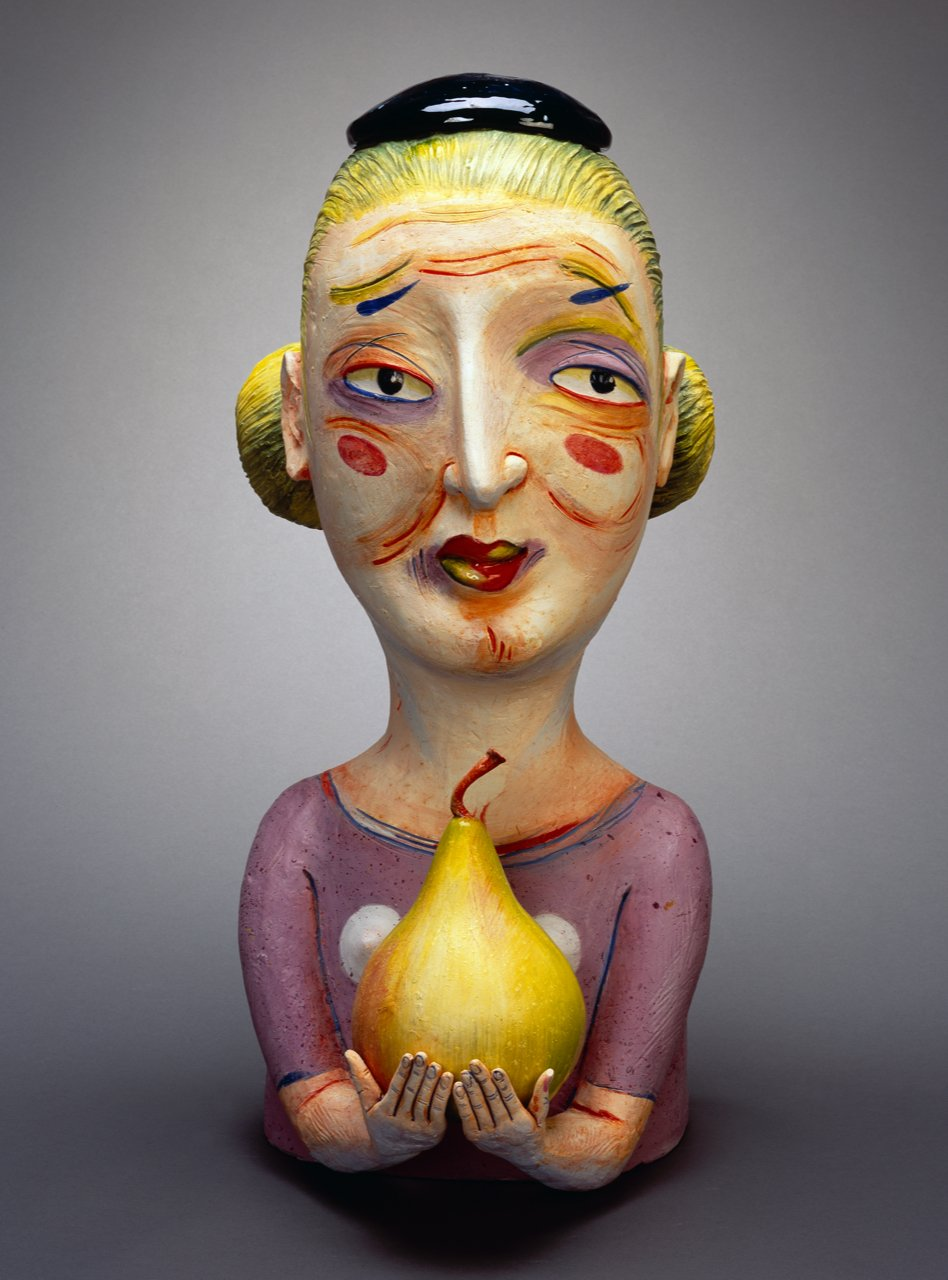 "Patti Warashina - Prima Peara - 2004 - Clay, Underglaze, Ceramic - 27"" x 14"" x 15"""