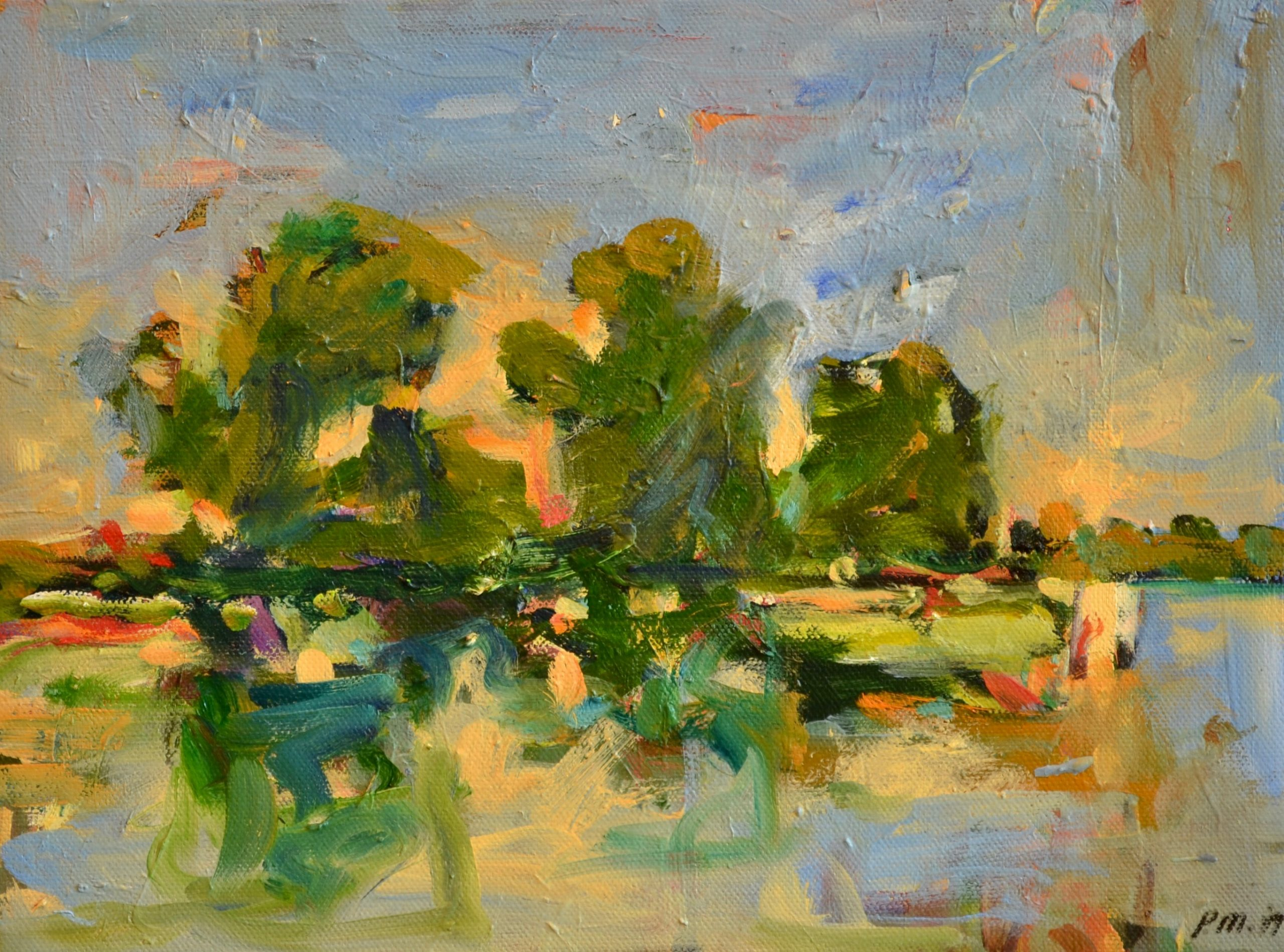 "Pat Mahony - Flood Fields 2 - 9"" x 12"" - Oil on Canvas"