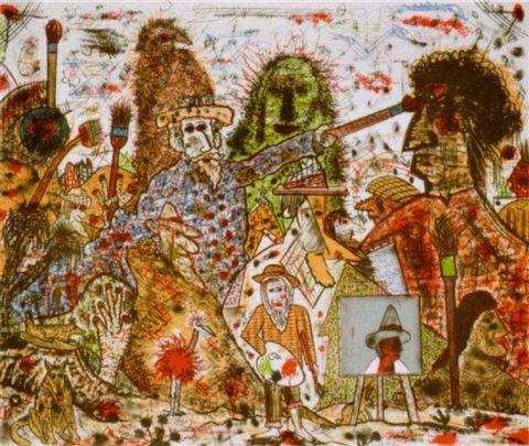 "Roy De Forest - The Painter - 1994 - Colored Lithograph - 32"" x 40"""