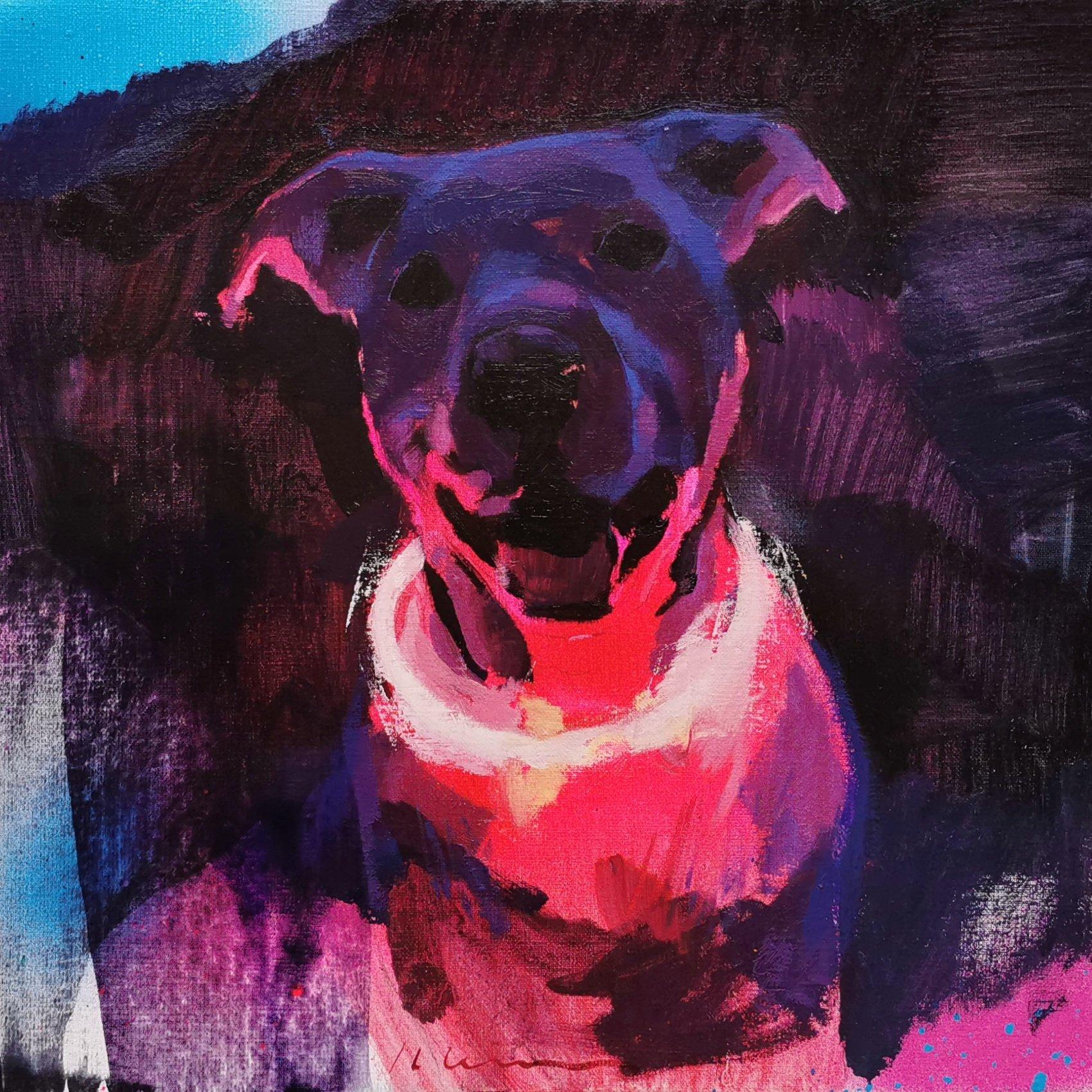 """Jose Luis Ceña Ruiz - Follow the Neon Light - 2019 - Oil on Linen - 12"""" x 12"""""""