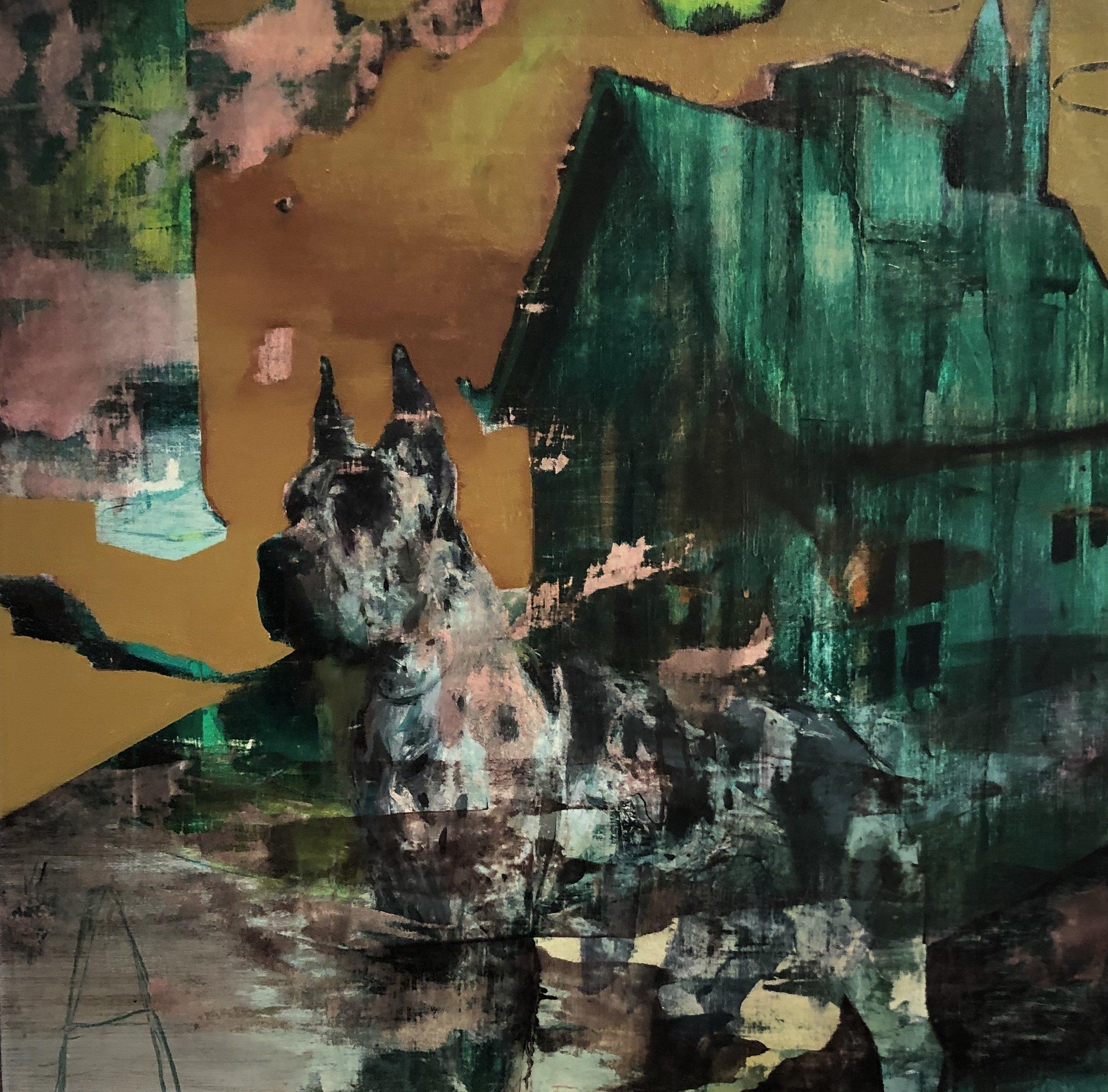 "Jose Luis Ceña Ruiz - The Green House - 2020 - Oil on Linen - 32"" x 32"""
