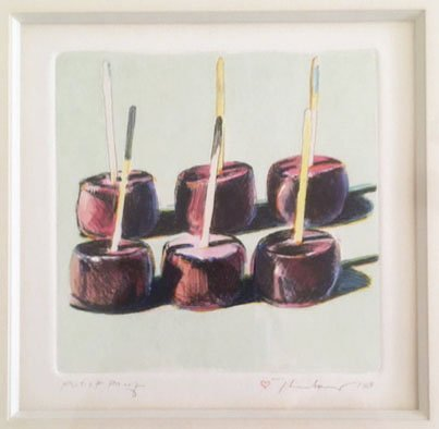 "Wayne Thiebaud - 1964 - Candied Apples - Hand-Colored Etching - 5"" x 5:"