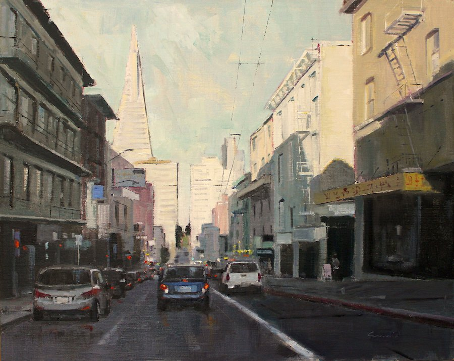 "Philippe Gandiol - Down Clay Street - Oil on Canvas - 24"" x 30"""