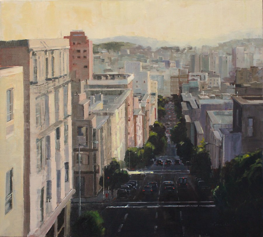 "Philippe Gandiol - Afternoon on Jones St. - Oil on Canvas - 40"" x 36"""