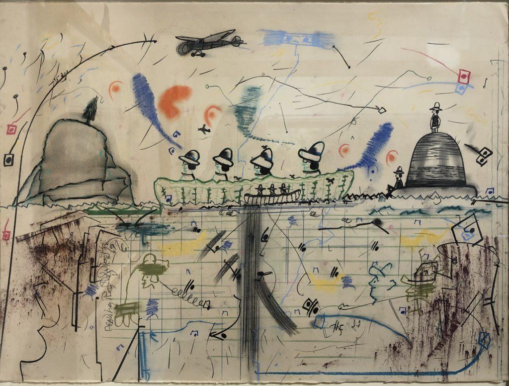 """Roy De Forest - 1976 - Bicentennial Man - Mixed Media on Paper - 22"""" x 30"""""""