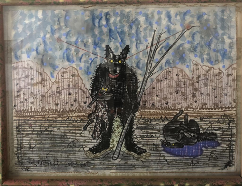 """Roy De Forest - Dog, Bigfoot, and Son - 1981-1985 - Drawing - 37"""" x 35"""""""