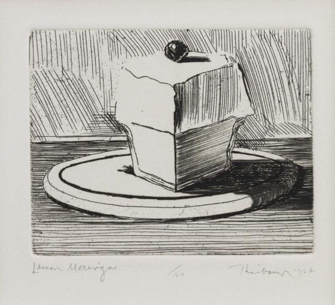 "Wayne Thiebaud - Lemon Merengue - 1964 - Etching with Drypoint - 13"" x 11"""