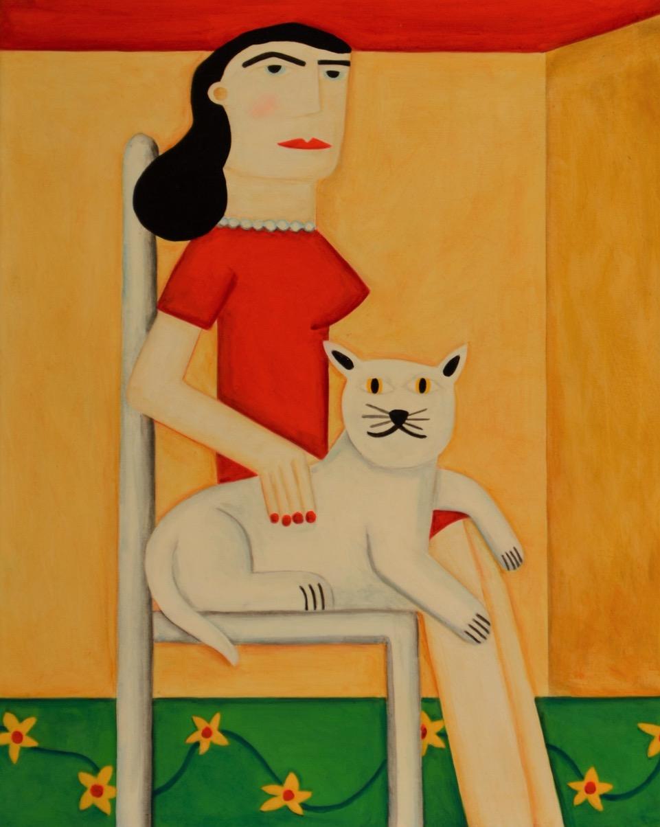 "Robert Ransom - 2020 - White Cat - 16"" x 20"""