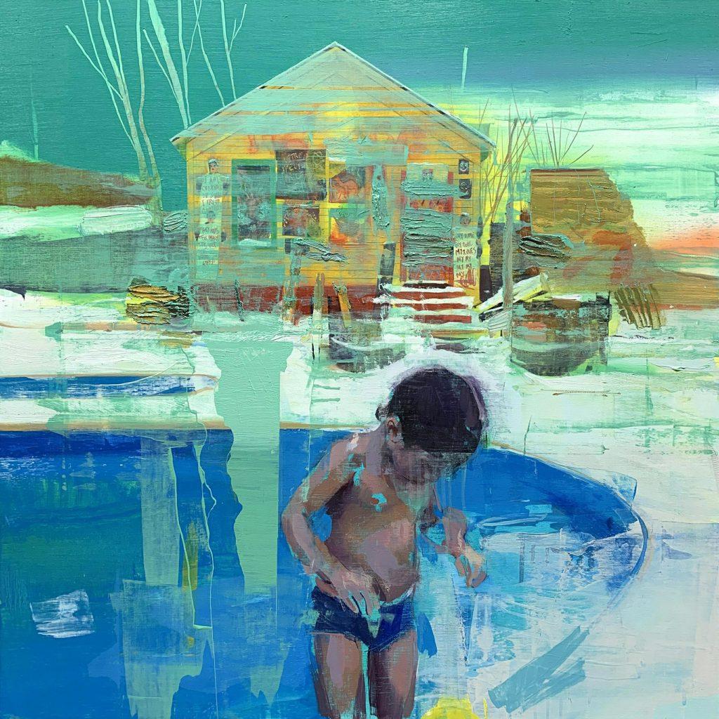 "Jose Luis Cena Ruiz - Winter Pool - Oil on Linen - 31.5"" x 31.5"""