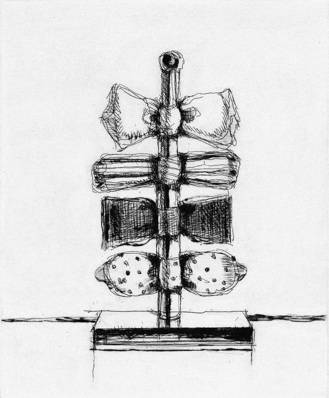 "Wayne Thiebaud - Bow Tie Tree - 2017 - Hard Ground Etching with Drypoint - 14"" x 12"""