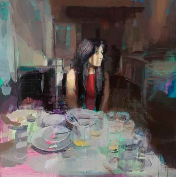 "Jose Luis Cena Ruiz - Breakfast - Oil on Linen - 39"" x 39"""