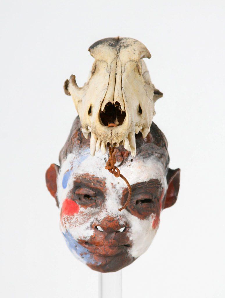 """Arthur Gonzalez - Boy with Two Masks - 2015 - Ceramic - 15"""" x 15"""" x 12"""""""