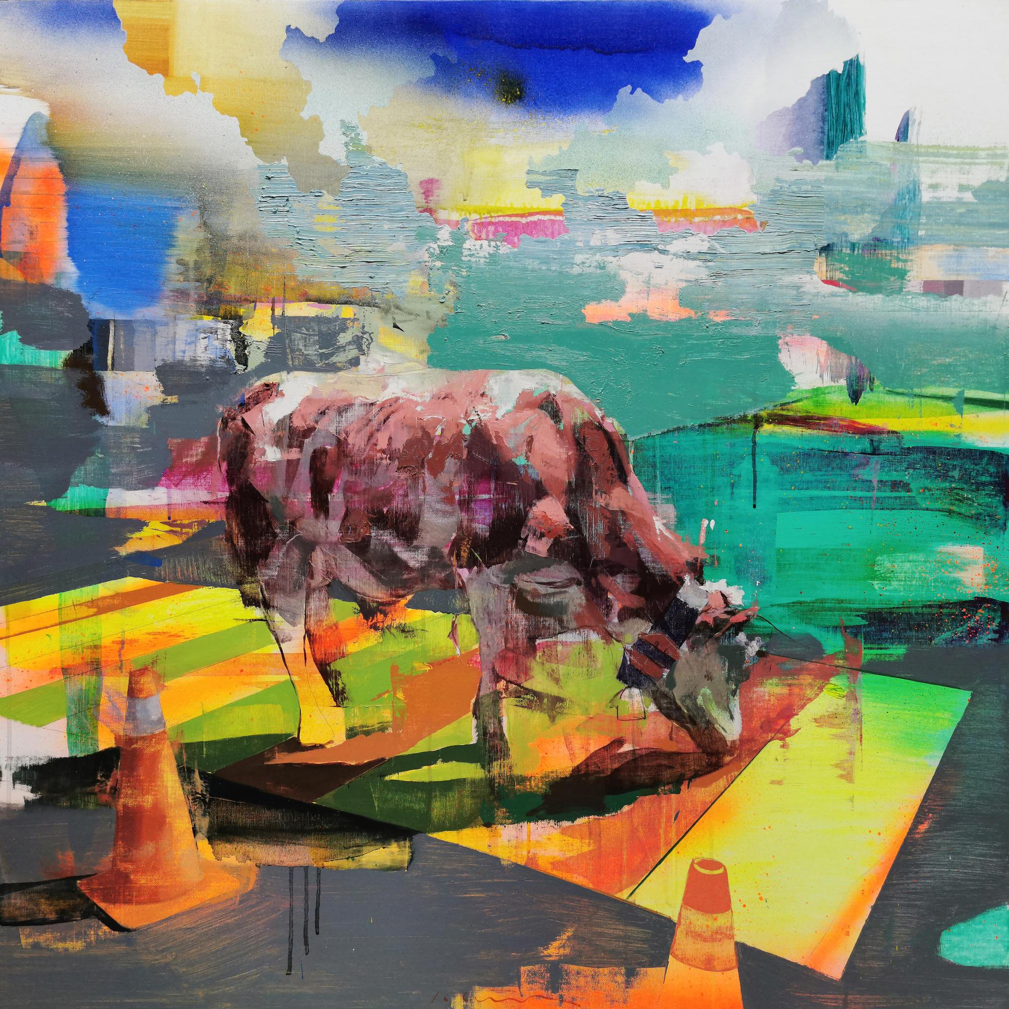 """Jose Luis Cena Ruiz - Urban Fold III - Oil on Linen - 39"""" x 39"""""""