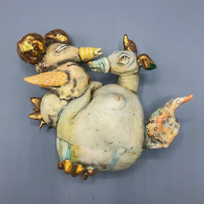 "Lisa Clague - 2020 - Dog Medusa - Ceramic - 6"" x 4.5"" x 2"""