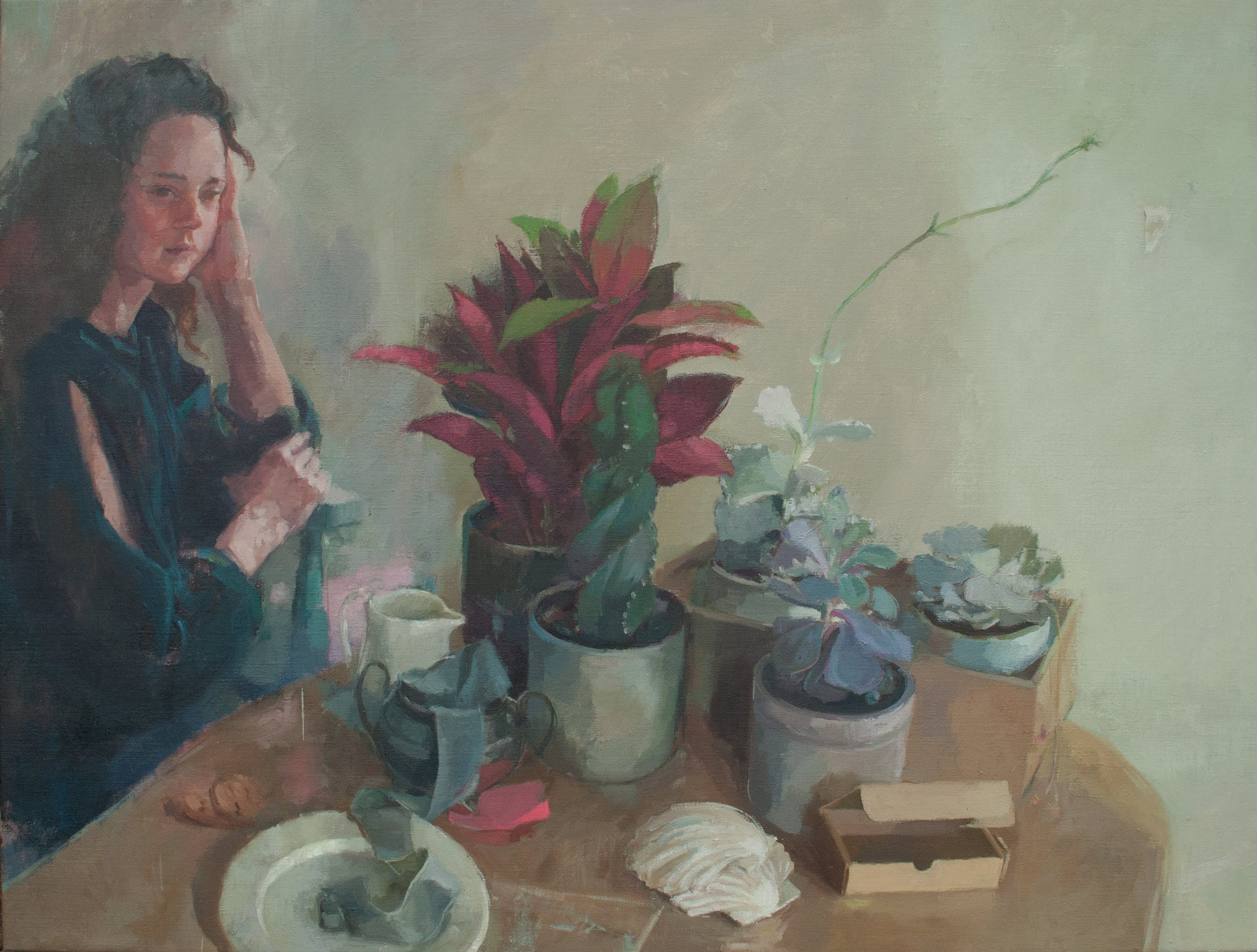 "Ilaria Rosselli Del Turco - Girl Waiting - Oil on Linen - 30"" x 40"""