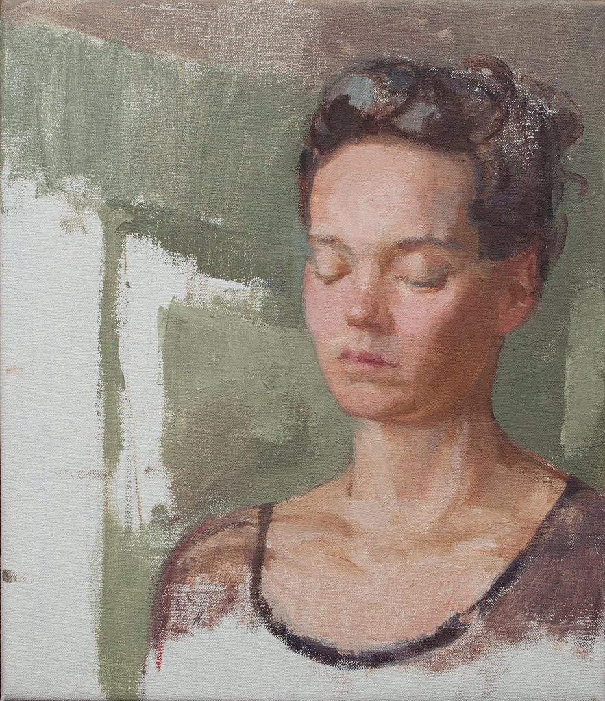 """Ilaria Rosselli Del Turco - Girl with Eyes Closed -Oil on Linen - 14"""" x 12"""""""