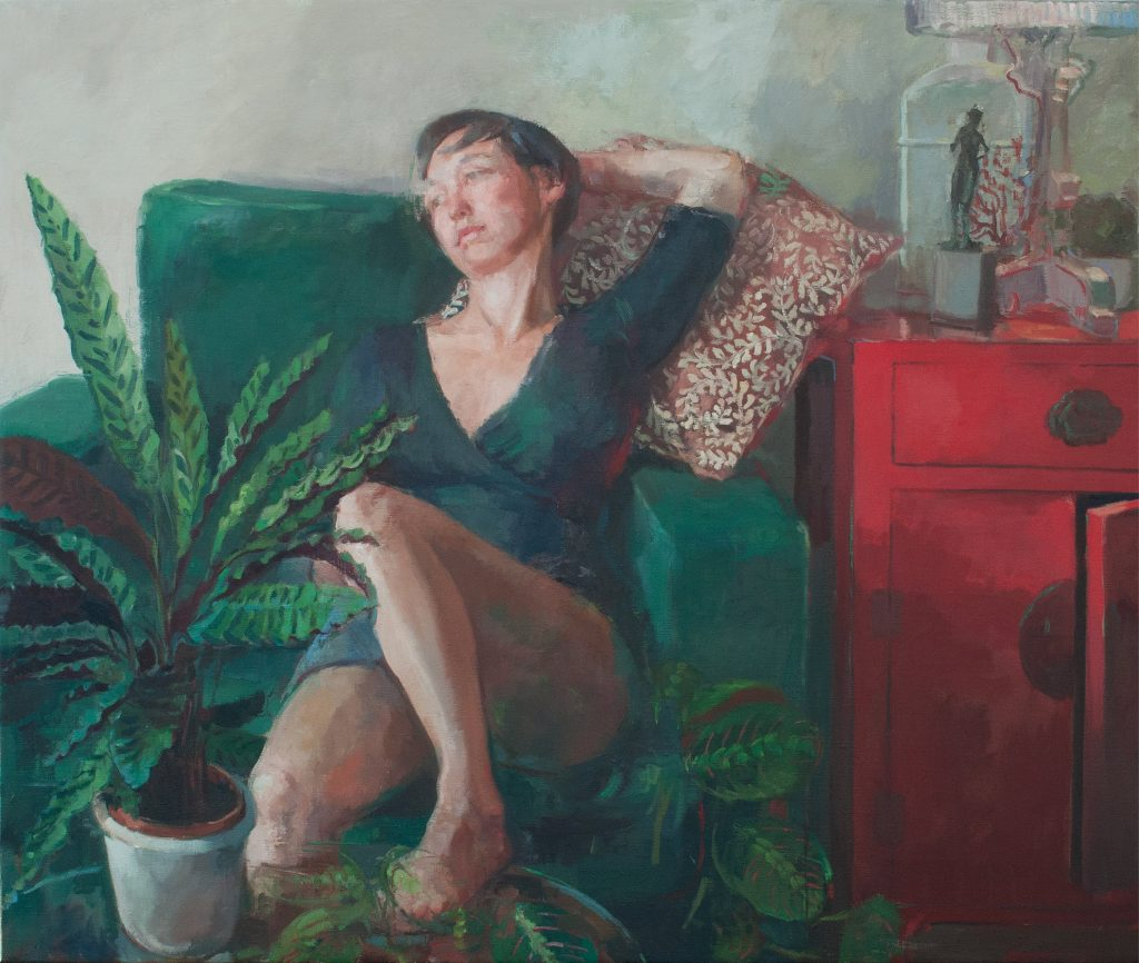 "Ilaria Rosselli Del Turco - Green Armchair - Oil on Linen - 44"" x 32"""