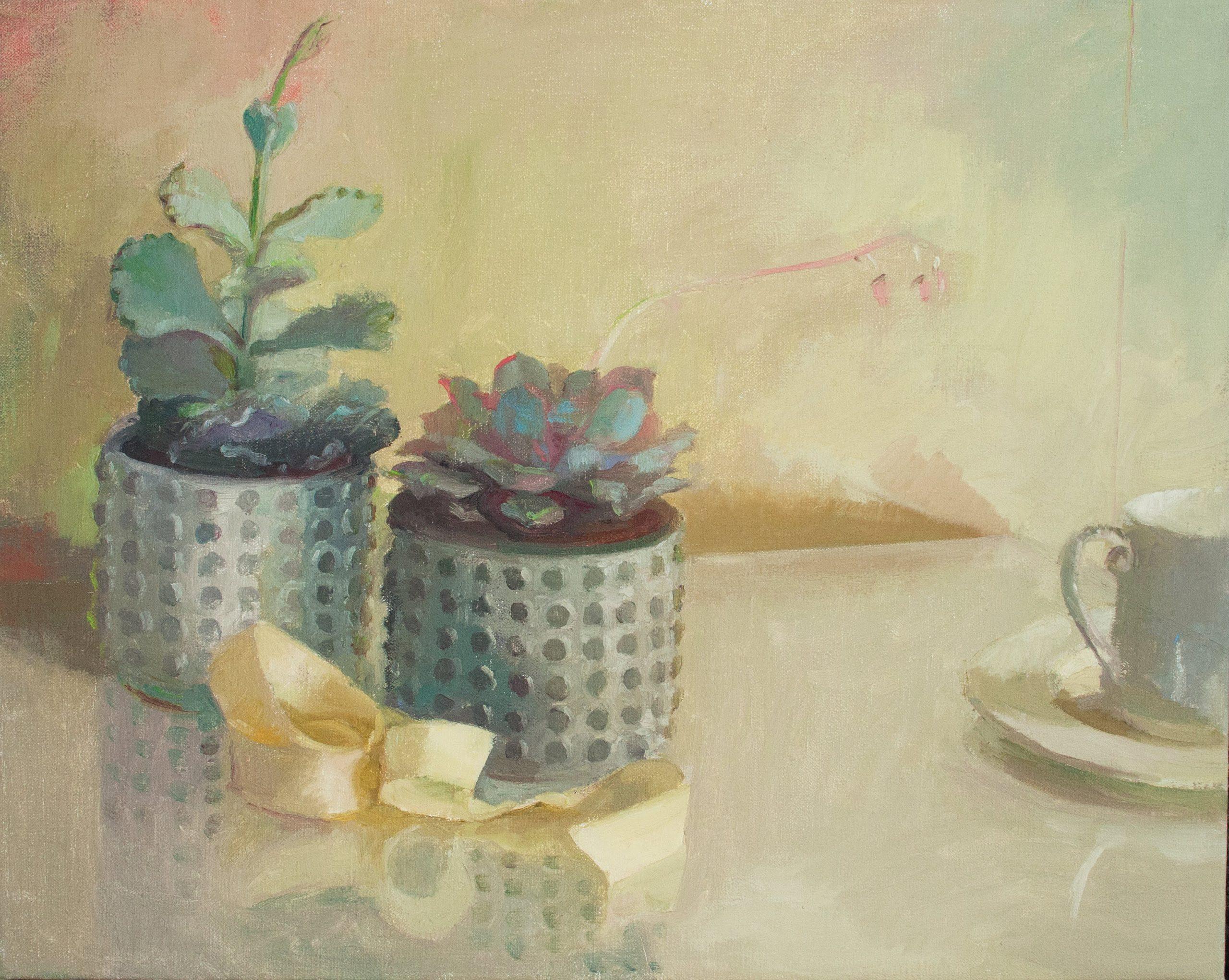 "Ilaria Rosselli Del Turco - Still Life with Succulents - Oil on Linen - 16"" x 20"""