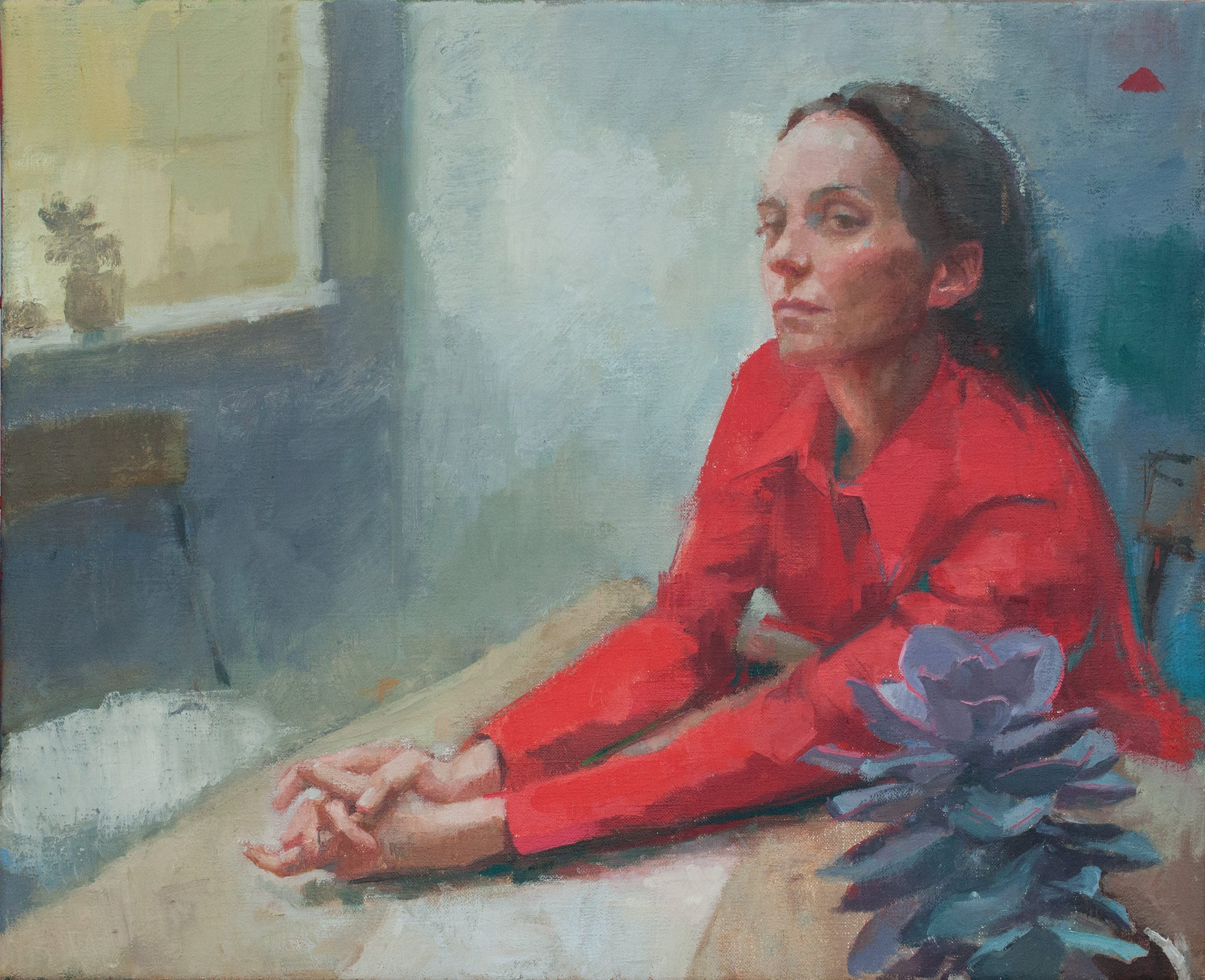 """Ilaria Rosselli Del Turco - Woman with Red Shirt - Oil on Linen - 16"""" x 20"""""""