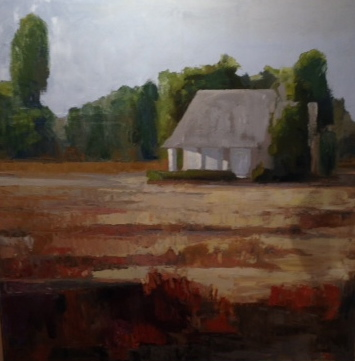 "Kerry Rowland-Avrech - House at End - Oil on Panel - 55"" x 55"""