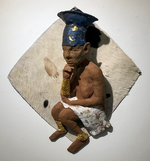 "Arthur Gonzalez - This Year's Model - 2019 - Ceramic on Cowhide - 24"" x 14"" x 12"""