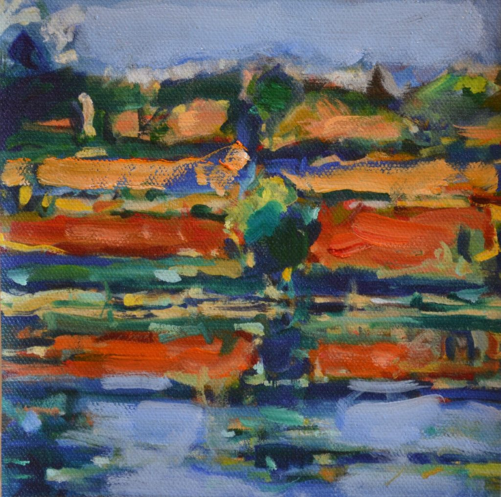 "Pat Mahony - Miller Pond 1 - 2020 - Hand Augmented Giclee on Canvas - 5.75"" x 5.75"""