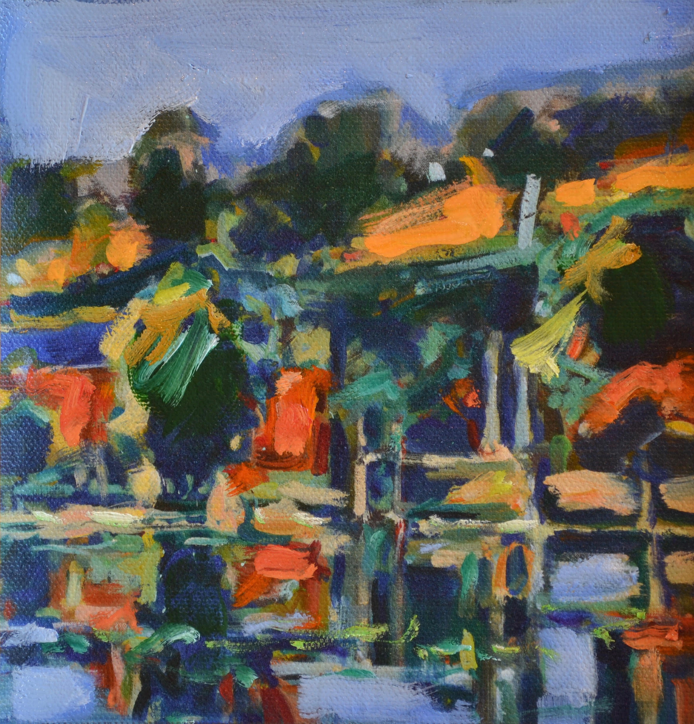 "Pat Mahony - Miller Pond 2 - 2020 - Hand Augmented Giclee on Canvas - 6"" x 6"""