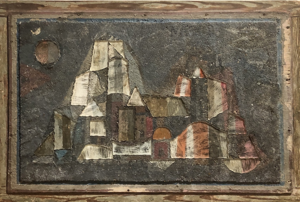 "Jean Varda - Moonrise - 1941 - 32"" x 21"" - Mixed Media on Ceramic Wood"