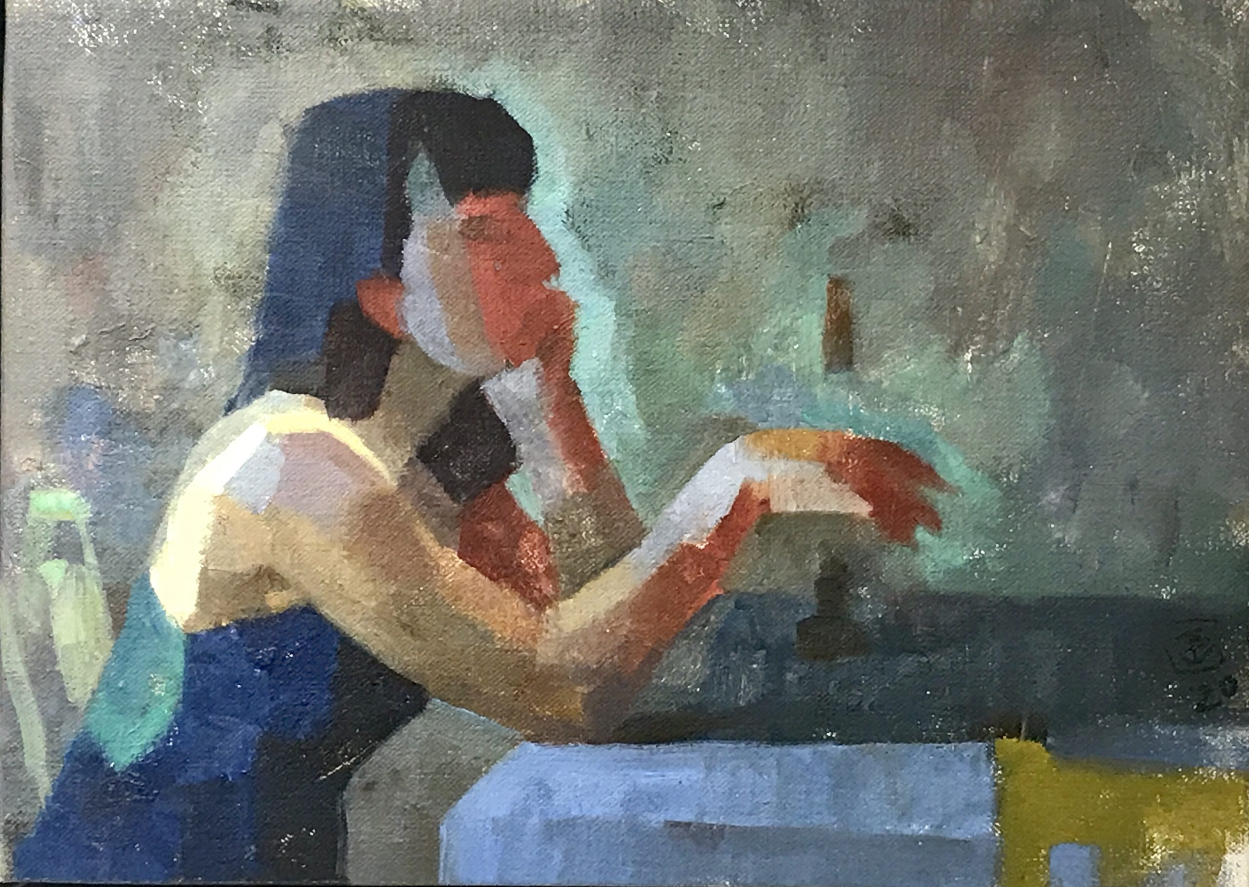 """James Bland - 2020 -Gloria at a Table - Oil on Canvas - 12"""" x 8"""""""