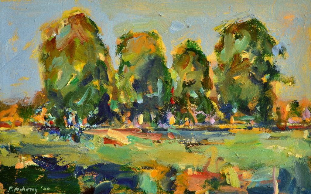 Pat Mahony, Four Trees Study, oil on canvas, 12 x19, 2020