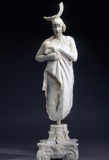 Woman with Boars Tusk ceramic art