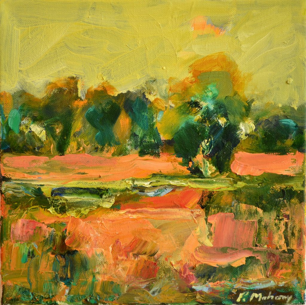 """Pat Mahony - African Winter - 10"""" x 10"""" - Oil on Canvas - 2020"""
