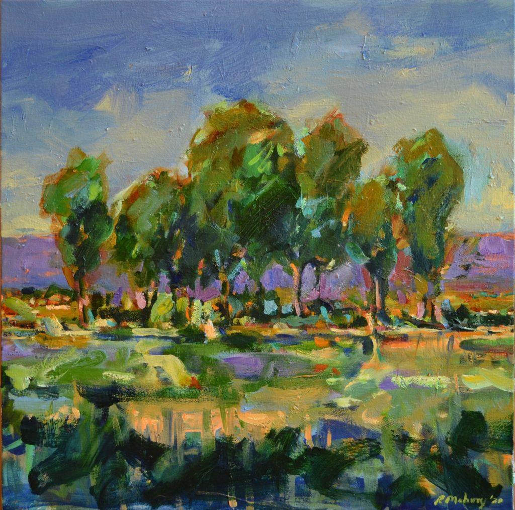 """Pat Mahony - Six Trees - 2020 - Oil on Canvas - 20"""" x 20"""""""