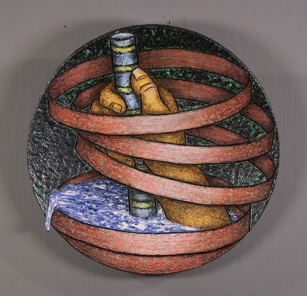 "Louis Marak - 1996 - Helping Hands Bowl - Ceramic - 11"" x 11"" x 1.5"""