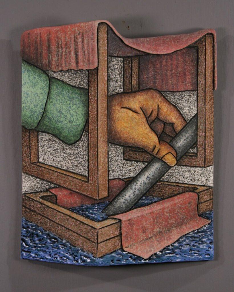 "Louis Marak - Helping Hand - 1996 - Ceramic - 12.5"" x 10.5"" x 2.5"""