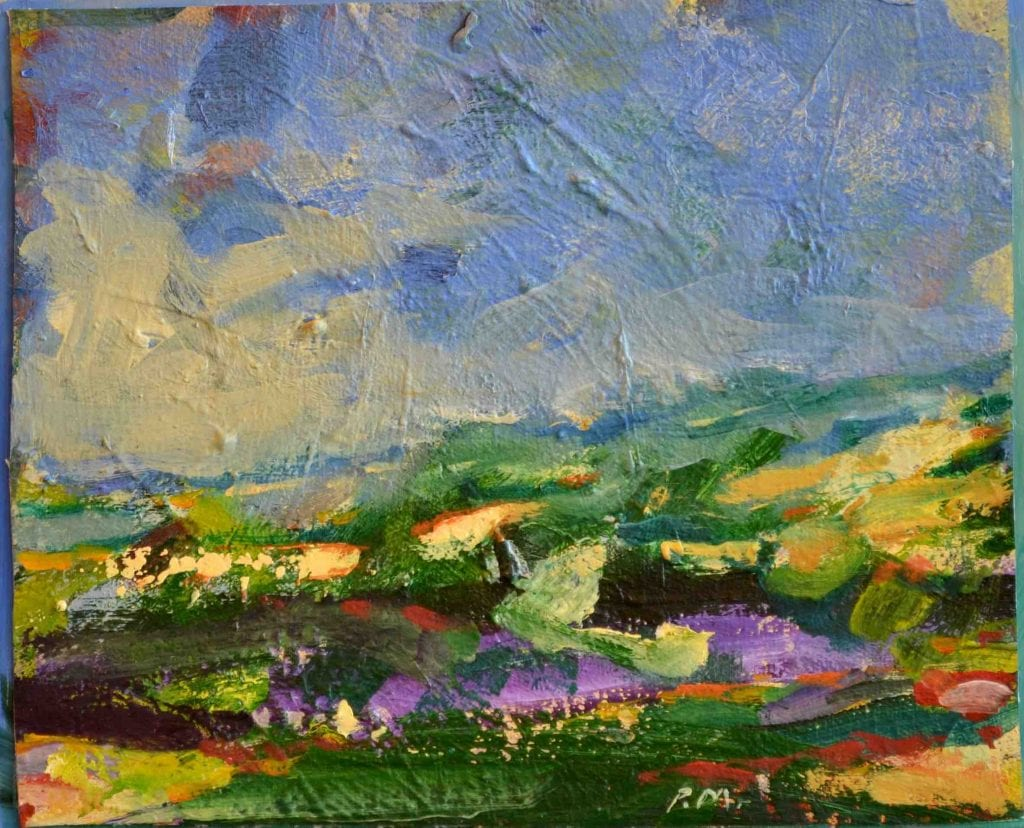 "Pat Mahony - Stormy View - Athens - 2018 - Oil on Panel - 8"" x 10"""
